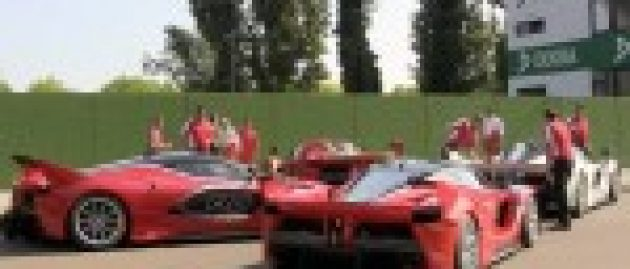 Quartet of Ferrari FXX K supercars at Imola sound perfect