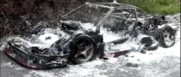 Early Ferrari F40 prototype destroyed in roadside fire